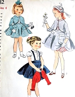 1950s ADORABLE Little Girls Suspender Skirt Suit, Puff Sleeve Blouse and Full Petticoat Pattern SIMPLICITY 3782 Perfect Little Miss Outfit Size 4 Childrens Vintage Sewing Pattern FACTORY FOLDED