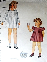 1930s ADORABLE Shirley Temple Style Little Girls Dress Pattern SIMPLICITY 3790 Sweet Pleated Dress Size 4 Childrens Vintage Sewing Pattern