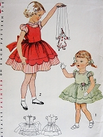 1950s SWEET Toddlers Party Dress Pattern SIMPLICITY 3808 Two Adorable Styles Size 1 Little Girls Dress Vintage Childrens Sewing Patterns