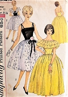1960s LOVELY Evening Dress and Capelete Simplicity 3822 Bust 311/2 Vintage Sewing Pattern
