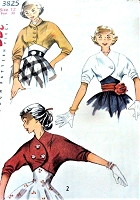 1950s LOVELY Kimono Sleeved Short Jackets Pattern SIMPLICITY 3825 Three Styles Day or  Party Evening Bust 30 Vintage Sewing Pattern UNCUT