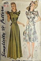 BEAUTIFUL 1940s Evening Gown or Party Dress Pattern SIMPLICITY 3835 Figure Flattering Design in 2 Lengths and Versions Bust 34 Vintage Sewing Pattern