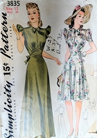 BEAUTIFUL 1940s Evening Gown or Party Dress Pattern SIMPLICITY 3835 Figure Flattering Design in 2 Lengths and Versions Bust 30 Vintage Sewing Pattern