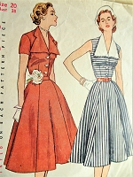 1950s LOVELY Dress Pattern SIMPLICITY 3847 Detachable Collar, Wide Skirt Figure Flattering Design Bust 38 Vintage Sewing Pattern