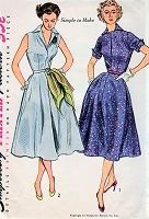 1950s STYLISH Easy To Make Dress Pattern SIMPLICITY 3876 Two Style Versions Bust 34 Vintage Sewing Pattern