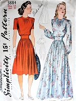 1940s Vintage LOVELY Evening or Daytime Blouse and Skirt Simplicity 3884 Bust 30 Sewing Pattern