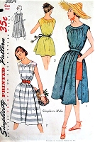 1950s BEACH Dress or Beach Cover Up Pattern SIMPLICITY 3894 Cute Side Button Dress In 2 Lengths Simple To Sew Bust 31 Vintage Sewing Pattern