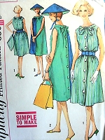1960s FAB Beach or Day Dress and Hat Pattern SIMPLICITY 3904 Easy To Make Turn About Dress Bust 36 Vintage Sewing Pattern
