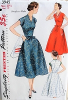 50s EASY To Make Wrap Dress Pattern SIMPLICITY 3945 Three Versions Bust 39 Vintage Sewing Pattern FACTORY FOLDED
