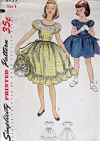 1950s ADORABLE Girls Peasant Style Dress Pattern SIMPLICITY 3959 Short Puffed Sleeves and Full Gathered Skirt 2 Style Versions Size 8 Vintage Childrens Sewing Pattern