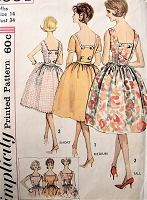 1960s Vintage LOVELY Dress with Back Button Closing and Decorative Trim Simplicity 3964 Sewing Pattern Bust 34