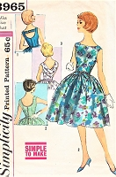 1960s BEAUTIFUL Party Cocktail Evening Dress Pattern SIMPLICITY 3965 Figure Flattery,3 Back Styles, Bust 32, SIMPLE To Make Vintage Sewing Pattern