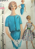 1960s Vintage DELIGHTFUL Dress with Scalloped Neckline and Jacket with Cummerbund Simplicity 3997 Sewing Pattern Bust 32