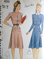 1940s STYLISH Dress Pattern SIMPLICITY 4019 Sleek Key Hole Neckline WW II Dress,2 Style Versions Bust 36 Vintage Sewing Pattern