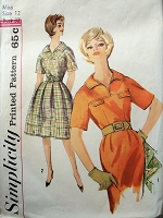 1960s Vintage STYLISH Dress with Collar and Two Style Skirts Simplicity 4025 Sewing Pattern Bust 32