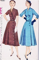 1950s STRIKING Dress Pattern SIMPLICITY 4087 Lovely Front button Notched Neckline Day or After 5 Dress Bust 34 Vintage Sewing Pattern