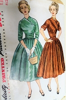 BEAUTIFUL 1950s Surplice Dress Pattern SIMPLICITY 4094 Day or Party Evening Dress 2 Versions, Bust 30 Vintage Sewing Pattern