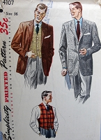 1950s Vintage HANDSOME Men's Vest and Jacket Pattern SIMPLICITY 4107  Size 34 Sewing Pattern