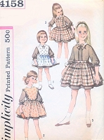 1960s ADORABLE Girls  Toddlers Full Skirt Dress Pinafore Apron  Pattern SIMPLICITY 4158 Detachable Bib Top Scallops Ruffles Bows Size 3 Childrens Vintage Sewing Pattern