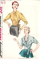 1950s STUNNING Surplice Wrap Around Blouse Pattern SIMPLICITY 4158 Day or Evening Blouse Simple To Make Bust 36 Vintage Sewing Pattern