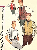 1960s CLASSIC Gentlemens Shirt,Vest and Reversible Vest Pattern SIMPLICITY 4160 Short or Long Sleeved Shirt Chest 42 Vintage Mens Sewing Pattern