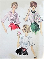 1960s RETRO Blouse Pattern SIMPLICITY 4212 Three Lovely Styles,Day or Evening Styles Bust 32 Vintage Sewing Pattern