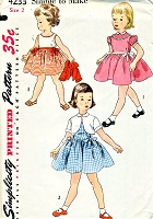 1950s CUTE Toddlers Dress and Jacket Pattern SIMPLICITY 4233 Little Girls Sweet Outfit Size 2 Childrens Vintage Sewing Pattern