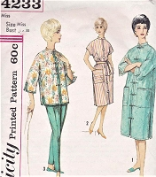 1960s LUCY Style Lounging Outfit Pattern SIMPLICITY 4233 Oriental Jacket Tapered Slim Pants, Hostess Dress and Patio Dress Bust 36 Vintage Sewing Pattern FACTORY FOLDED