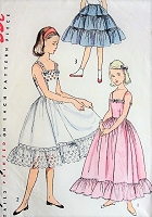 1950s PRETTY Girls Slips and Petticoat Pattern SIMPLICITY 4266 Three Style Versions Size 10 Childrens Vintage Sewing Pattern