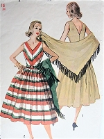 Vintage 1950s LOVELY V Neckline Dress with Stole Simplicity 4287 Sewing Pattern Bust 34