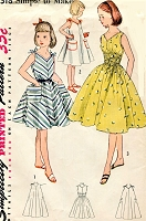 1950s CUTE Girls Summer Dress Pattern SIMPLICITY 4318 Easy To Sew Childrens Dress 3 Versions Size 12 Vintage Sewing Pattern FACTORY FOLDED