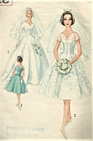 1960s BEAUTIFUL Bridal Wedding Gown Dress Pattern SIMPLICITY 4318 Figure Flattering Design Brides,Bridesmaids and Evening Dress Bust 38 Vintage Sewing Pattern