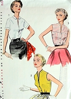 1950s SLEEK Sleeveless Blouse Pattern SIMPLICITY 4319 Three Fab Style Versions Bust 30 Vintage Sewing Pattern FACTORY FOLDED
