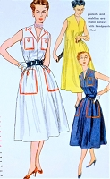 1950s FAB Jiffy Dress and Washable Transfer Pattern SIMPLICITY 4332 Chemise Dress Loose or Belted, Washable Transfer Hand Painted Effect,Trapeze Tent Style Bust 30 Vintage Sewing Pattern