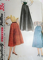 1950s SIMPLE To Make Skirts Pattern SIMPLICITY 4374 Daytime or Evening Length,Figure Flattering Style Waist 26 Vintage Sewing Pattern