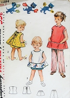 1950s ADORABLE Childrens Apron,Shorts and Pants Pattern SIMPLICITY 4384 Sweet Toddlers Outfit Includes Transfer Size 2 Vintage Sewing Pattern
