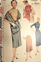 1950s CHIC Slim Jumper Dress,Skirt and Stole Pattern SIMPLICITY 4397 Simple To Make Classy Styles Bust 30 Vintage Sewing Pattern