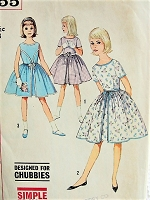 1960s PRETTY Dress with Gathered Waist Simplicity 4455 Bust 33 Vintage Sewing Pattern