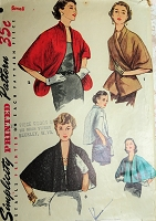 1950s BEAUTIFUL  Set of Stoles Wraps Capelets Pattern SIMPLICITY 4477  Three Lovely Styles Evening or Day Size Small Vintage Sewing Pattern