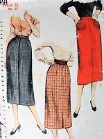 1950s EASY To MAKE Slim Skirt Pattern SIMPLICITY 4491 Two Stylish Styles Waist 28 Vintage Sewing Pattern