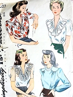 1940s PRETTY Blouse Pattern SIMPLICITY 4507 Four Lovely Styles WW II Era War Time Tuck In Blouses Bust 30 Vintage Sewing Pattern