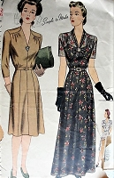 Vintage 1940s BEAUTIFUL Day or Evening Dress in Three Styles Simplicity 4517 Sewing Pattern Bust 42