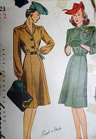 1940s CLASSIC WW II Era Shirtwaist Dress Pattern SIMPLICITY 4523 Simple To Make Classy War Time Dress Bust 34 Vintage Sewing Pattern