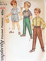 1960s CUTE Little Boys Shirt, Suspender Shorts and Long Pants Pattern SIMPLICITY 4533 Adorable Styles Size 5 Vintage Childrens Sewing Pattern