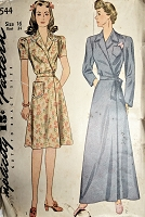 1940s FAB House Dress and Robe Pattern SIMPLICITY 4544  WW II Era Lovely Side Closing Regular or Full Length Bathrobe Bust 34 Vintage Sewing Pattern