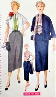 50s CLASSY Suit and Weskit Blouse Pattern SIMPLICITY 4562 Slim Skirt, Overblouse Boxy Jacket Simple To Make Bust 34 Vintage Sewing Pattern