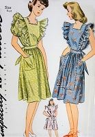 1940s CUTE Ruffled Pinafore APRON or Sundress Pattern SIMPLICITY 2038 Farmhouse House Dress  Bust 30 ORIGINAL Vintage Sewing Pattern