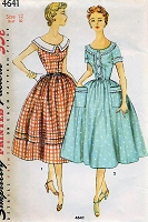 1950s PRETTY Summer Dress Pattern SIMPLICITY 4641 Two Styles Full Skirted Dress Bust 30 Vintage Sewing Pattern