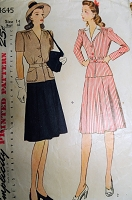 1940s FAB Peplum 2 Pc Dress Pattern SIMPLICITY 4645 2 Versions, Includes Detachable Collar,Bust 32 Vintage Sewing Pattern