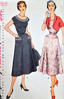 1950s LOVELY Dress and Bolero Jacket Pattern SIMPLICITY 4651 Figure Flattering Design Bust 34 Includes Transfer Vintage Sewing Pattern